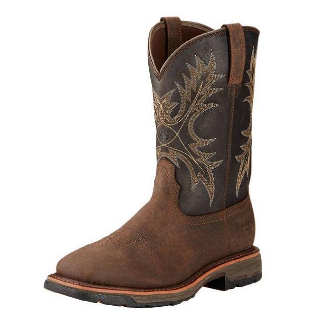 ff196979090 Men's Ariat Workhog Wide Square Toe H2O Bruin Brown Soft Toe Boot