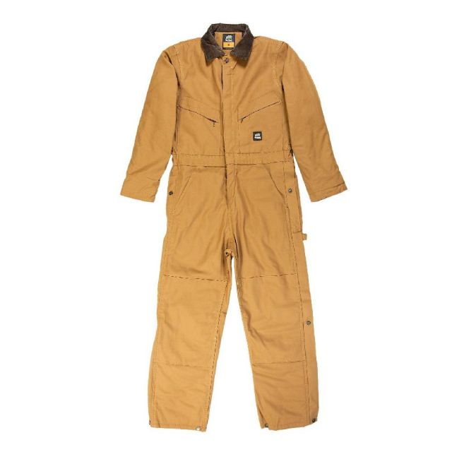 Men S Berne Deluxe Twill Insulated Coveralls Brown