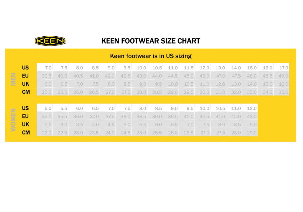 Keen Shoe Size Chart - Keen shoes size chart new stomp in